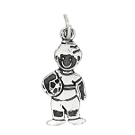 Sterling Silver Flat One Sided Boy with Soccer Ball Charm