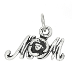 Sterling Silver One Sided Mom with Rose Charm