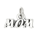 Sterling Silver One Sided Mom Charm