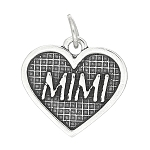 Sterling Silver One Sided Mimi Inside Heart Charm