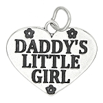 Sterling Silver Daddy's Little Girl Flowered Heart Charm
