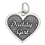 Sterling Silver One Sided Daddy's Girl Heart Charm