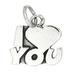 Sterling Silver One Sided I Love You Charm