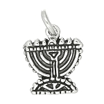 Sterling Silver Flat One Sided Menorah Hanukkah Charm
