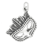 Sterling Silver One Sided Feathered Masquerade Style Mask Charm