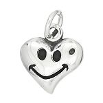 Sterling Silver One Sided Small Smiley Heart Charm