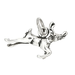 Sterling Silver One Sided Flying Reindeer Charm