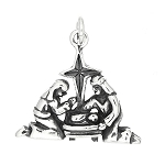 Sterling Silver One Sided Detailed Manger Nativity Scene Charm
