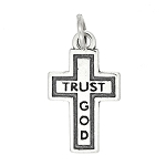 Sterling Silver Flat One Sided Trust God Cross Charm