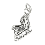 Sterling Silver Three Dimensional Santa Sleigh Charm