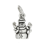 Sterling Silver One Sided Small Snowman Charm