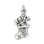 Sterling Silver One Sided Christmas Stocking Charm
