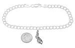 Sterling Silver Swimming Goggles on 5 Millimeter Charm Bracelet