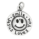 Sterling Silver One Sided Smile Jesus Loves You Charm