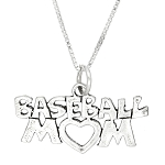 Sterling Silver Baseball Mom Charm with Box Chain Necklace