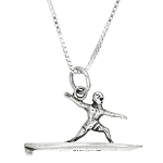 Sterling Silver Three Dimensional Man Surfer Necklace