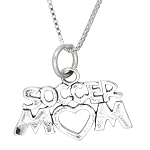 Sterling Silver Soccer Mom Charm with Box Chain Necklace