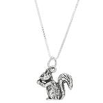 Sterling Silver Squirrel Holding Eating Nut Charm with Box Chain Necklace