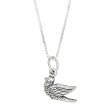 Sterling Silver Dove Bird Charm with Box Chain Necklace
