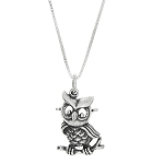 Sterling Silver One Sided Owl on Branch Necklace