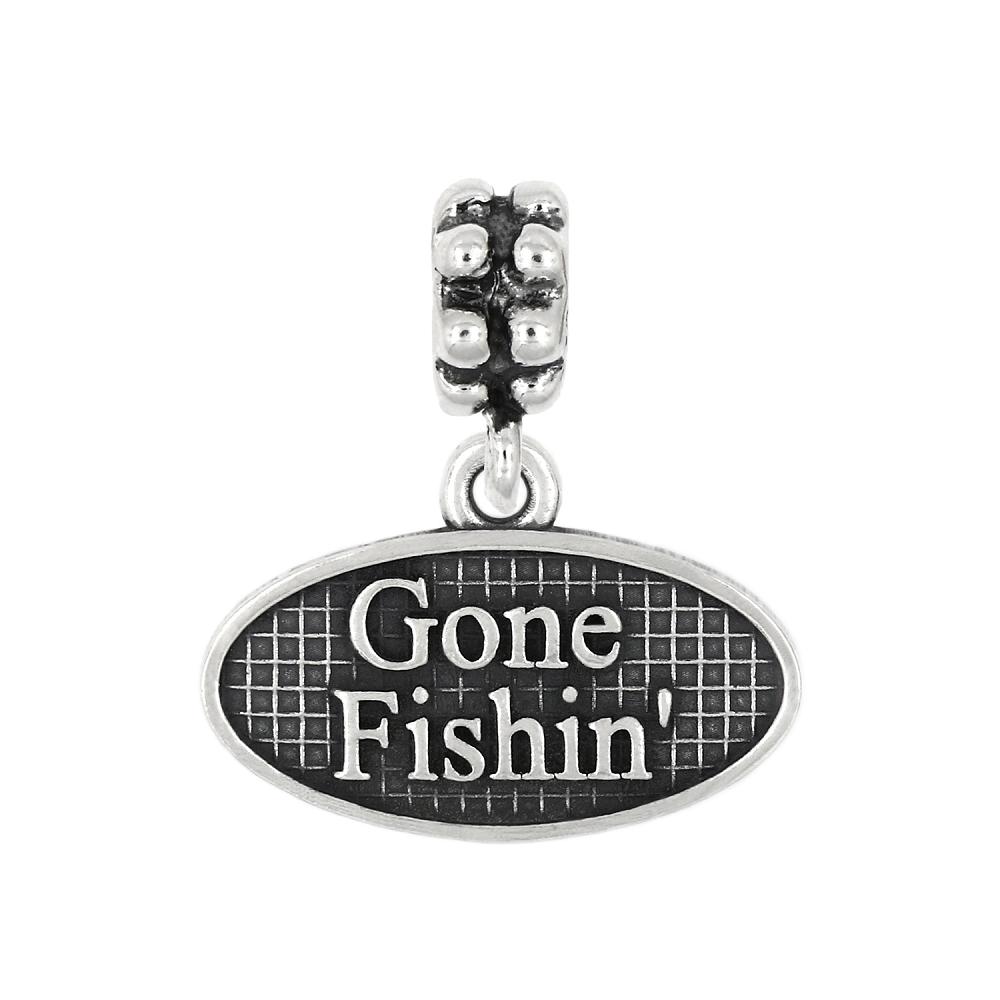 Sterling silver oxidized gone fishin 39 dangle bead charm - Gone fishin flatware ...