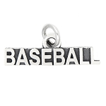 LGU® Sterling Silver Oxidized Baseball Charm (With Options)
