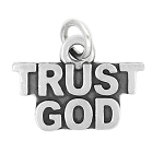 LGU® Sterling Silver Oxidized Trust God Charm Pendant -with Options