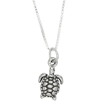 Sterling Silver Sea Turtle Charm with Box Chain Necklace