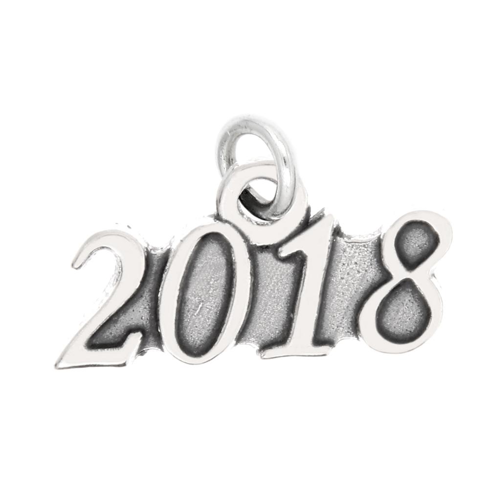 Sterling Silver Oxidized Year 2018 Graduation Cap Dangle Bead Charm