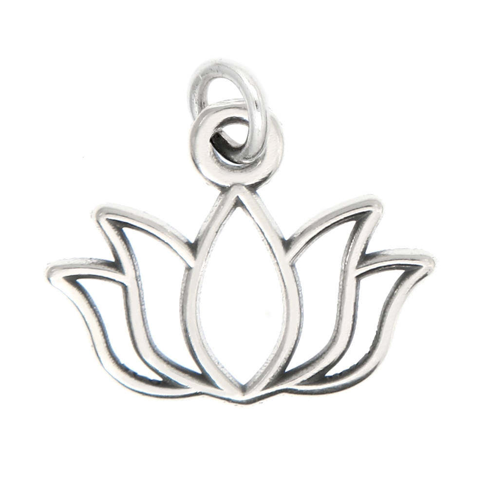 Sterling Silver Oxidized Lotus Flower Charm With Options