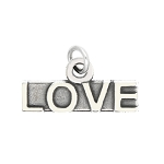 LGU® Sterling Silver Oxidized Talking Love Word Charm -with Options