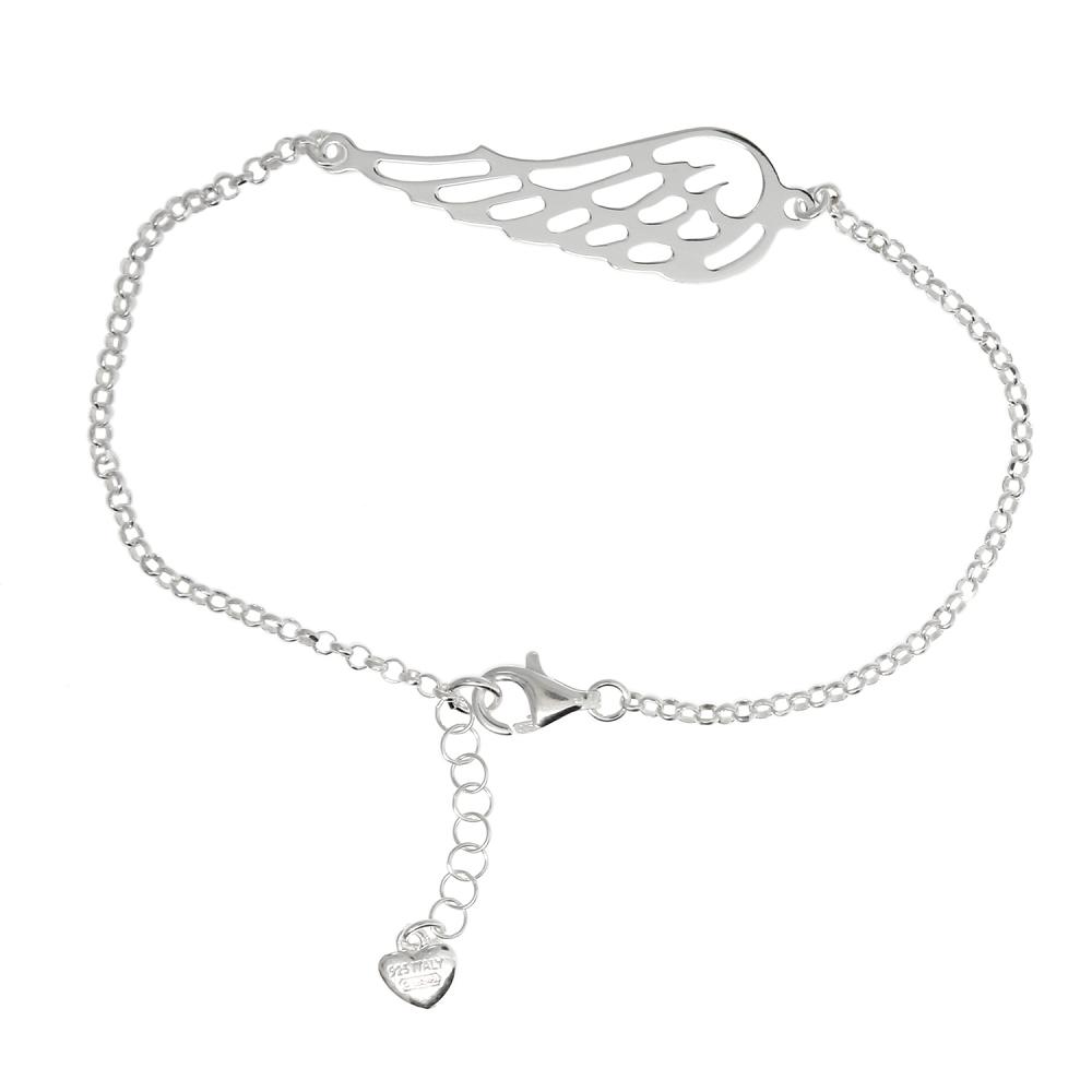 Sterling Silver 7 Inch Angel Wing Bracelet