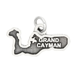 LGU® Sterling Silver Oxidized Grand Cayman Travel Charm Pendant -with Options