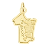 14Kt Yellow Gold Polished Travel Mexico Cancun Charm Pendant