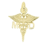 14Kt Yellow Gold Polished Medical Doctor MD Caduceus Charm Pendant