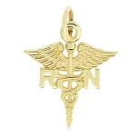 14Kt Yellow Gold Polished Registered Nurse Medical Caduceus Charm Pendant