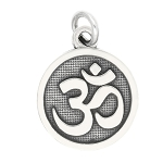 LGU® Sterling Silver Oxidized Hindu Aum Om Sacred Symbol Charm Pendant -with Options