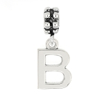 LGU® Sterling Silver Block Initial Letter Dangle Bead Charm