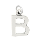 LGU® Sterling Silver Block Initial Letter Charm Necklace