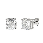 Sterling Silver Cubic Zirconia Cushion Cut Stud Earrings