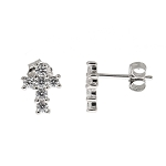 Sterling Silver Cubic Zirconia Cross Earrings for Child