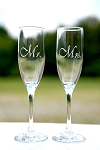 2 of Wedding Party Gift Etched Engraved Personalized Mr. and Mrs. Bride and Groom Champagne Tall Flute Glasses