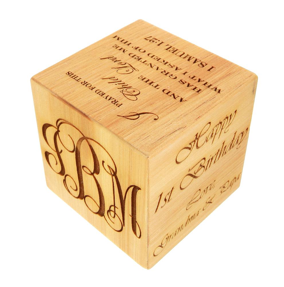 3 Inch Cube Personalized Nursery Decoration Keepsake Wood Baby Block Wooden Blocks For Baby