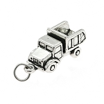 Sterling Silver Three Dimensional Garbage Dump Truck Charm