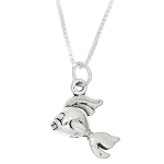 Sterling Silver Cute Goldfish with Box Chain Necklace