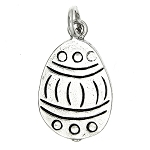 Sterling Silver Flat Easter Egg Charm