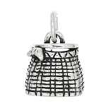 Sterling Silver One Sided Fish Basket Charm
