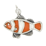 Sterling Silver Clown Fish with Enamel Charm