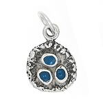 Sterling Silver Blue Jay Bird Nest with Enamel Charm
