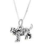 Sterling Silver Cat with Bow Charm with Box Chain Necklace